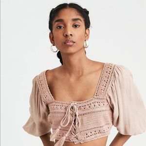 American Eagle Tan Crochet Crop Top